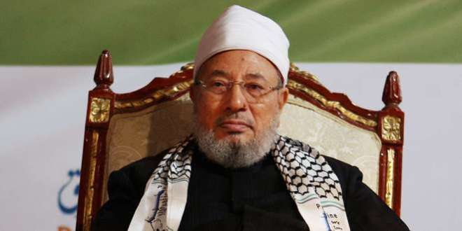 Qatar's Egyptian-born cleric Sheikh Youssef al-Qaradawi attends a protest against Israel in Doha