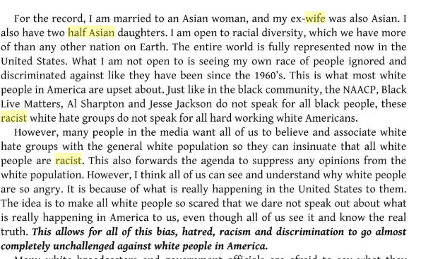 "The ""White Right's Manifesto"" (a white nationalist, pro-white book) opens with ""My wife and daughter are Asian."""